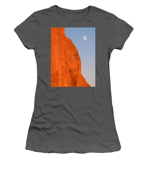 Moon At Monument Valley Women's T-Shirt (Athletic Fit)