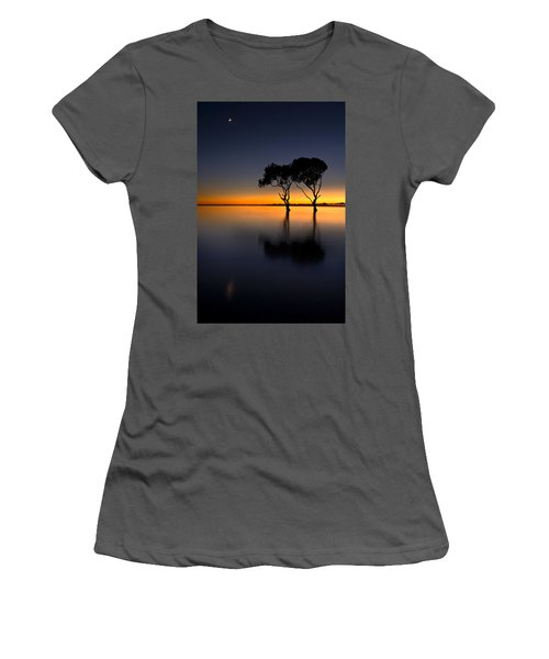 Moon Over Mangrove Trees Women's T-Shirt (Athletic Fit)