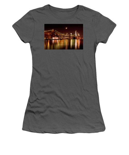 Moon Over The Brooklyn Bridge Women's T-Shirt (Athletic Fit)