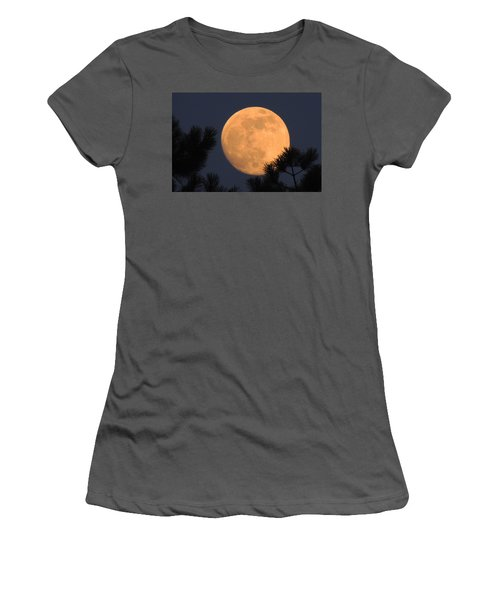 Women's T-Shirt (Junior Cut) featuring the photograph Moon Pines by Charlotte Schafer