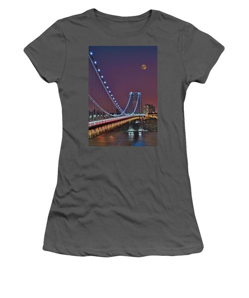 Moon Rise Over The George Washington Bridge Women's T-Shirt (Athletic Fit)