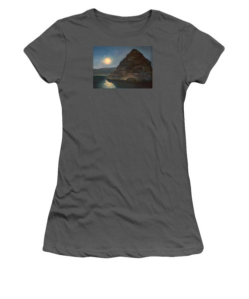 Women's T-Shirt (Junior Cut) featuring the painting Moonlight On Pyramid Lake by Donna Tucker
