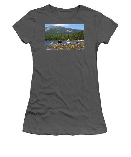 Moose Baxter State Park Maine Women's T-Shirt (Junior Cut)