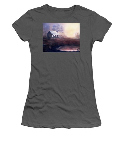 Women's T-Shirt (Junior Cut) featuring the painting Morning Reflections by Hazel Holland
