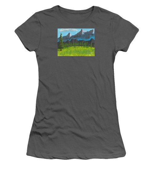 Women's T-Shirt (Junior Cut) featuring the painting Mountain Vista by David Jackson