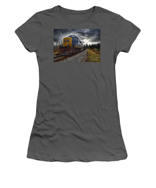 Women's T-Shirt (Junior Cut) featuring the photograph Moving Along In A Train Engine by Melissa Messick