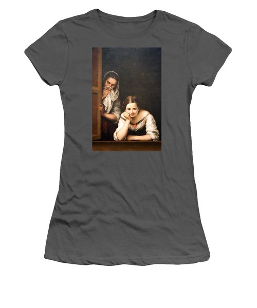 Murillo's Two Women At A Window Women's T-Shirt (Athletic Fit)
