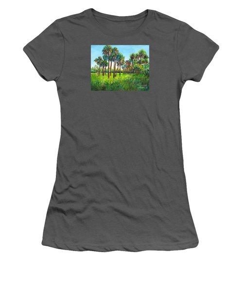 Women's T-Shirt (Junior Cut) featuring the painting Myakka Palms by Lou Ann Bagnall