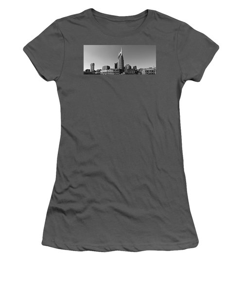 Nashville Tennessee Skyline Black And White Women's T-Shirt (Junior Cut) by Dan Sproul