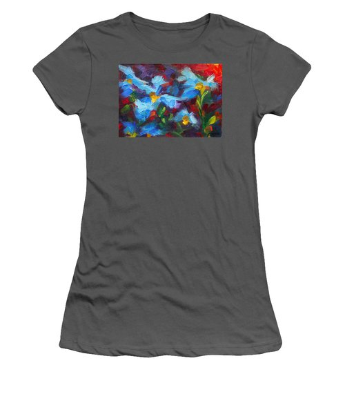 Nature's Palette - Himalayan Blue Poppy Oil Painting Meconopsis Betonicifoliae Women's T-Shirt (Athletic Fit)