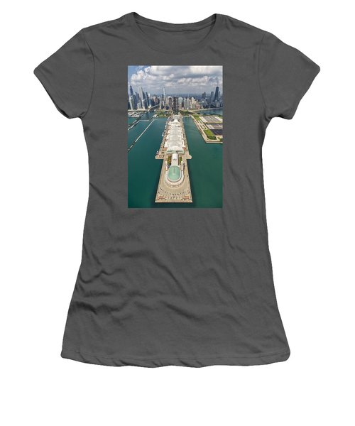 Navy Pier Chicago Aerial Women's T-Shirt (Athletic Fit)