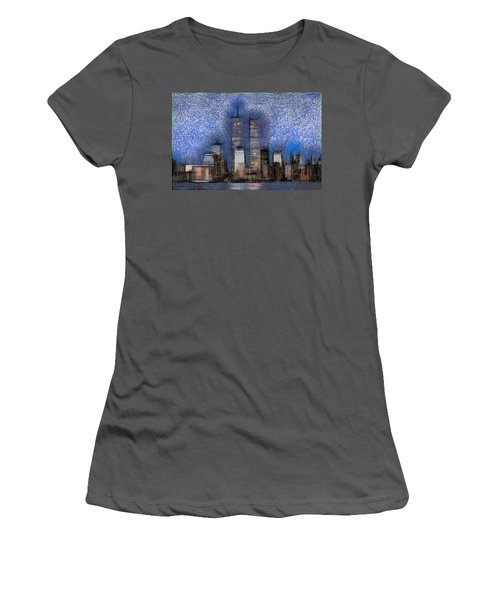 New York City Blue And White Skyline Women's T-Shirt (Athletic Fit)