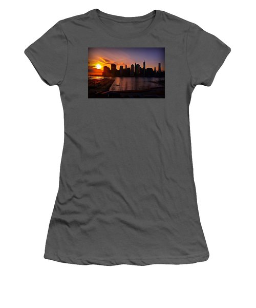 Women's T-Shirt (Junior Cut) featuring the photograph New York Skyline Sunset -- From Brooklyn Heights Promenade by Mitchell R Grosky