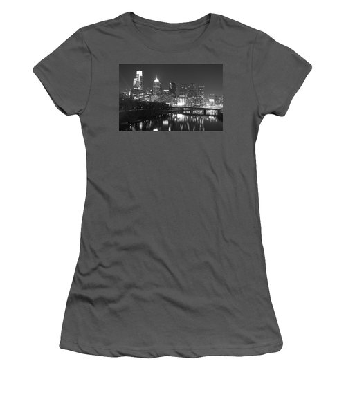 Women's T-Shirt (Junior Cut) featuring the photograph Nighttime In Philadelphia by Alice Gipson