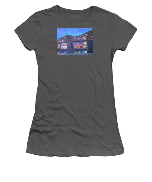 City At Night Downtown Evening Scene Original Contemporary Painting For Sale Women's T-Shirt (Junior Cut) by Quin Sweetman