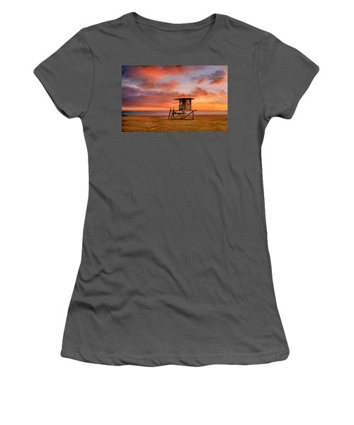No Lifeguard On Duty At The Wedge Women's T-Shirt (Junior Cut) by Michael Pickett