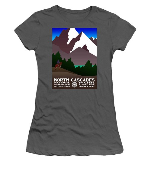 North Cascades National Park Vintage Poster Women's T-Shirt (Athletic Fit)