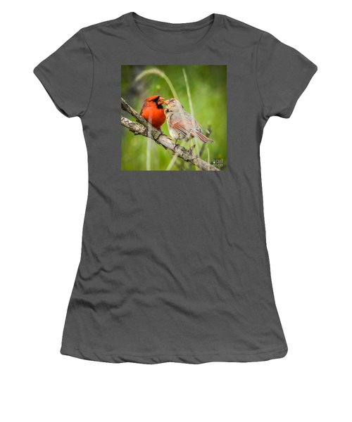 Northern Cardinal Male And Female Women's T-Shirt (Athletic Fit)