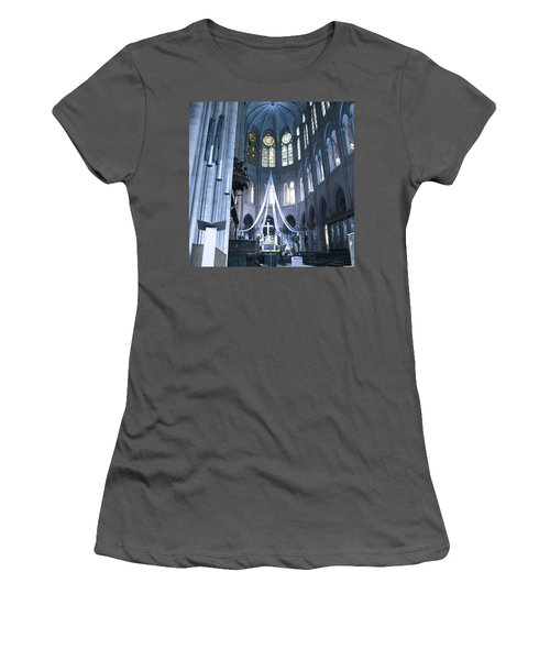Notre Dame Altar Teal Paris France Women's T-Shirt (Athletic Fit)