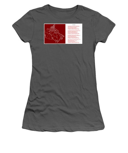 O Canada Lyrics And Map Women's T-Shirt (Athletic Fit)
