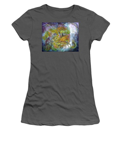 Women's T-Shirt (Junior Cut) featuring the painting Offspring Of Tiamat - The Fomorii Union by Otto Rapp