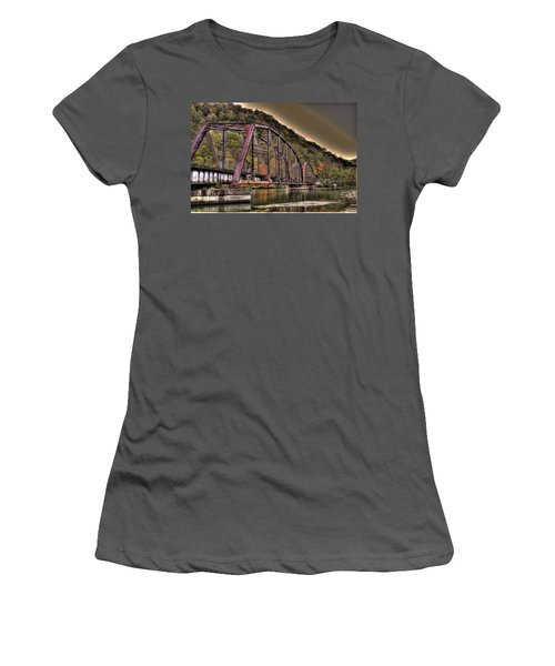 Old Bridge Over Lake Women's T-Shirt (Junior Cut) by Jonny D