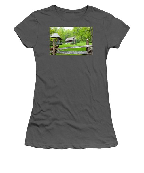 Old Cabins At The Cradle Of Forestry Women's T-Shirt (Athletic Fit)