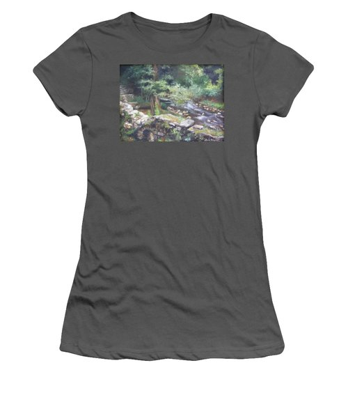 Women's T-Shirt (Junior Cut) featuring the painting Old Mill Steam II by Lori Brackett