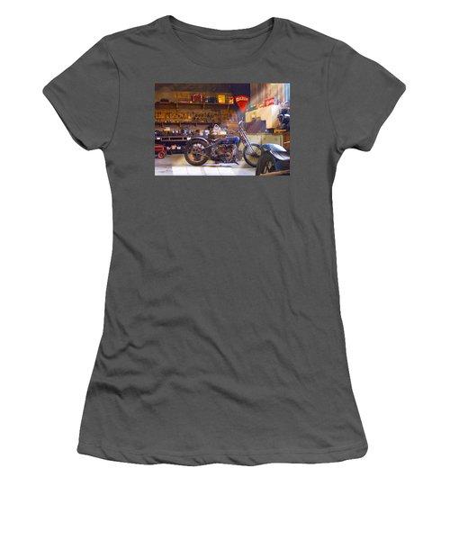 Old Motorcycle Shop 2 Women's T-Shirt (Junior Cut) by Mike McGlothlen