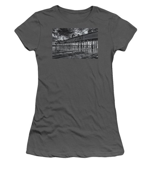 Old Orchard Beach Pier Bw Women's T-Shirt (Athletic Fit)