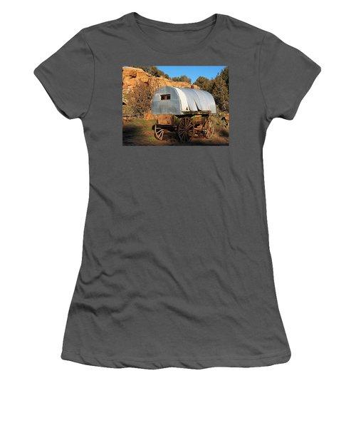 Old Sheepherder's Wagon Women's T-Shirt (Junior Cut) by Nadja Rider