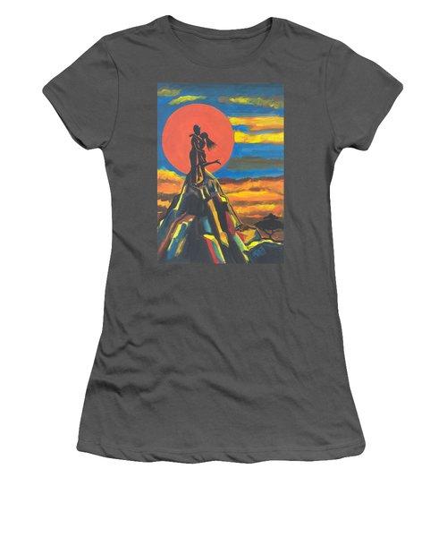 On The Summit Of Love Women's T-Shirt (Junior Cut) by Emmanuel Baliyanga