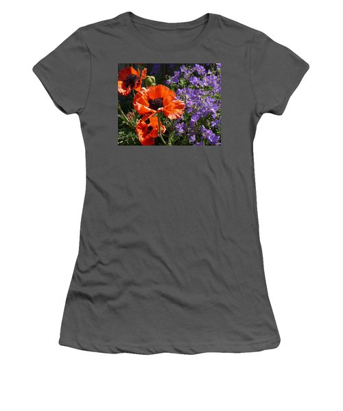 Orange Flowers Women's T-Shirt (Athletic Fit)