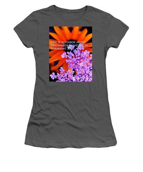 Orange Lavender Flower Women's T-Shirt (Athletic Fit)