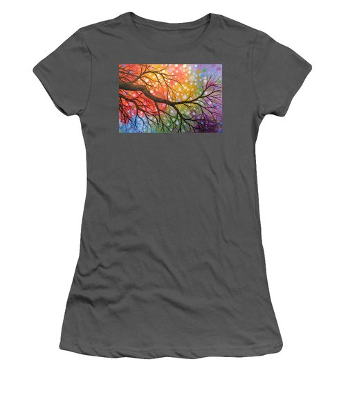 Women's T-Shirt (Junior Cut) featuring the painting Original Abstract Painting Landscape Print ... Bursting Sky by Amy Giacomelli