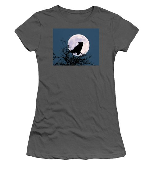 Owl And Blue Moon Women's T-Shirt (Athletic Fit)