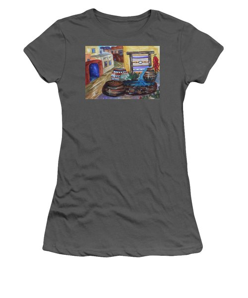 Painted Pots And Chili Peppers II  Women's T-Shirt (Junior Cut) by Ellen Levinson