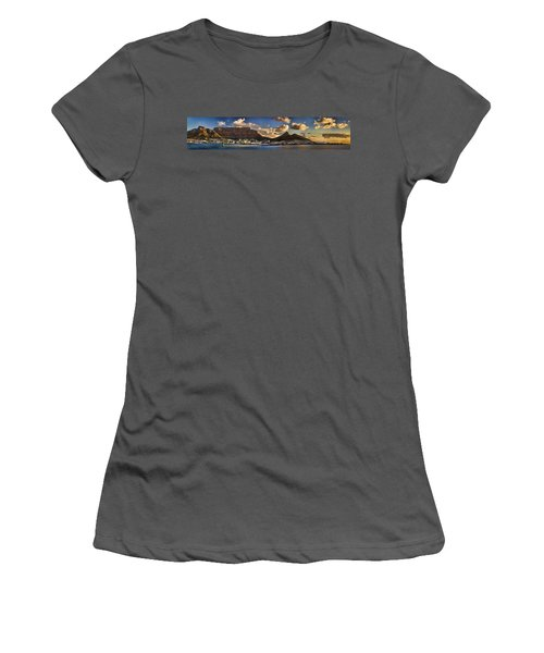 Panorama Cape Town Harbour At Sunset Women's T-Shirt (Athletic Fit)
