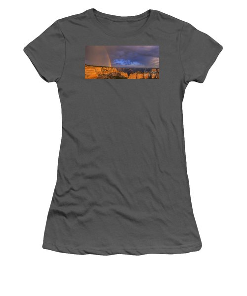 Women's T-Shirt (Junior Cut) featuring the photograph Panorama Rainbow Over Cape Royal North Rim Grand Canyon National Park by Dave Welling