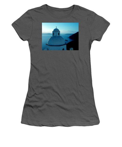 Peacefull Santorini Greek Island  Women's T-Shirt (Athletic Fit)