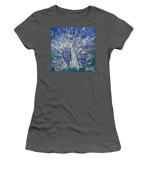 Peacock Dressed In White Women's T-Shirt (Athletic Fit)