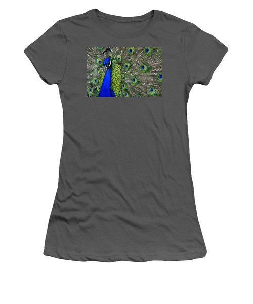 Peacock Head Women's T-Shirt (Junior Cut) by Debby Pueschel