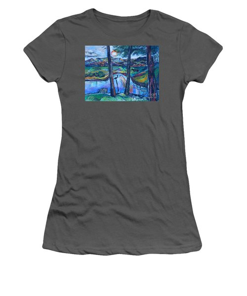 Pelican And Moose In Landscape Women's T-Shirt (Athletic Fit)