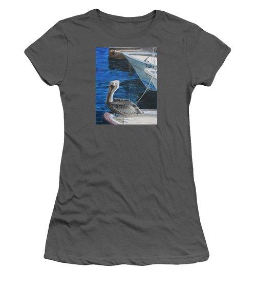 Pelican On A Boat Women's T-Shirt (Junior Cut) by Ian Donley