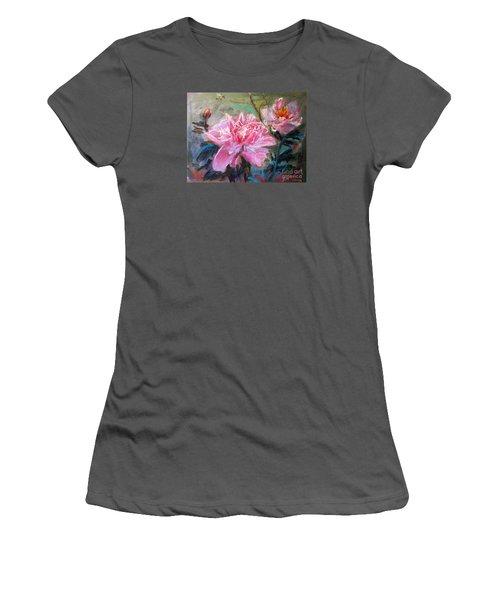 Women's T-Shirt (Junior Cut) featuring the painting Peony by Jieming Wang
