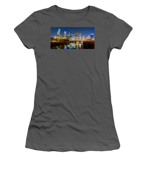 Philadelphia Cityscape Panorama By Night Women's T-Shirt (Athletic Fit)