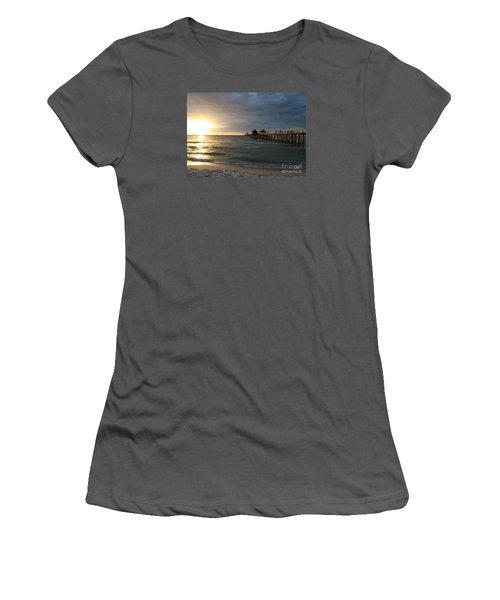 Pier Sunset Naples Women's T-Shirt (Junior Cut) by Christiane Schulze Art And Photography