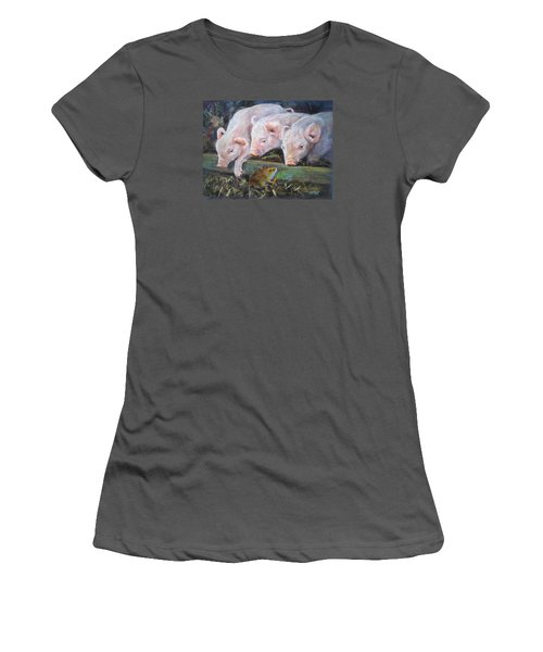 Women's T-Shirt (Junior Cut) featuring the painting Pigs Vs Mouse by Jieming Wang