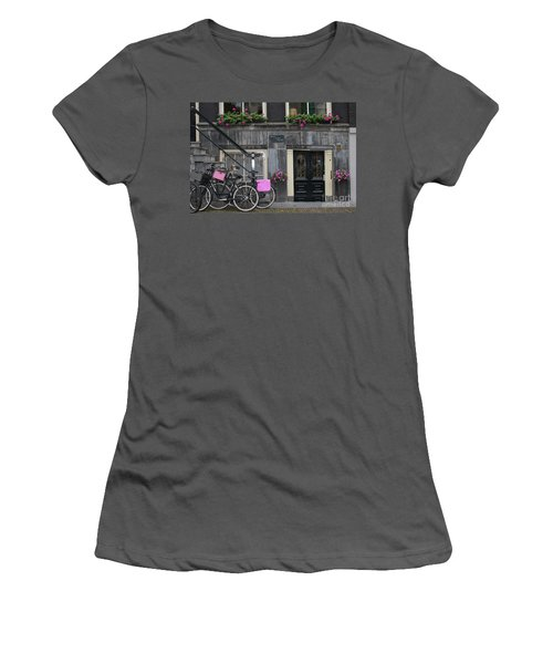 Pink Bikes Of Amsterdam Women's T-Shirt (Athletic Fit)