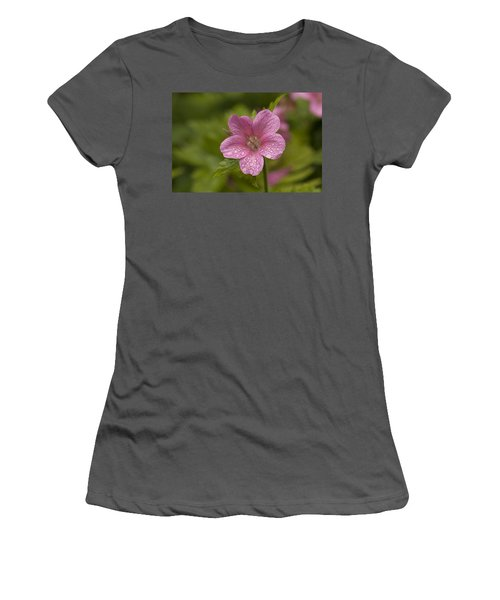 Pink Droplets Women's T-Shirt (Athletic Fit)